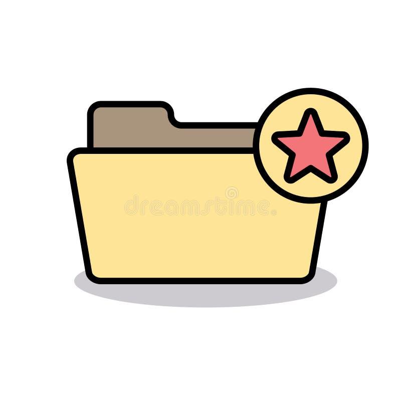 Αγαπημένος φάκελλος σελιδοδεικτών όπως το εικονίδιο αστεριών σημαδιών αγάπης απεικόνιση αποθεμάτων