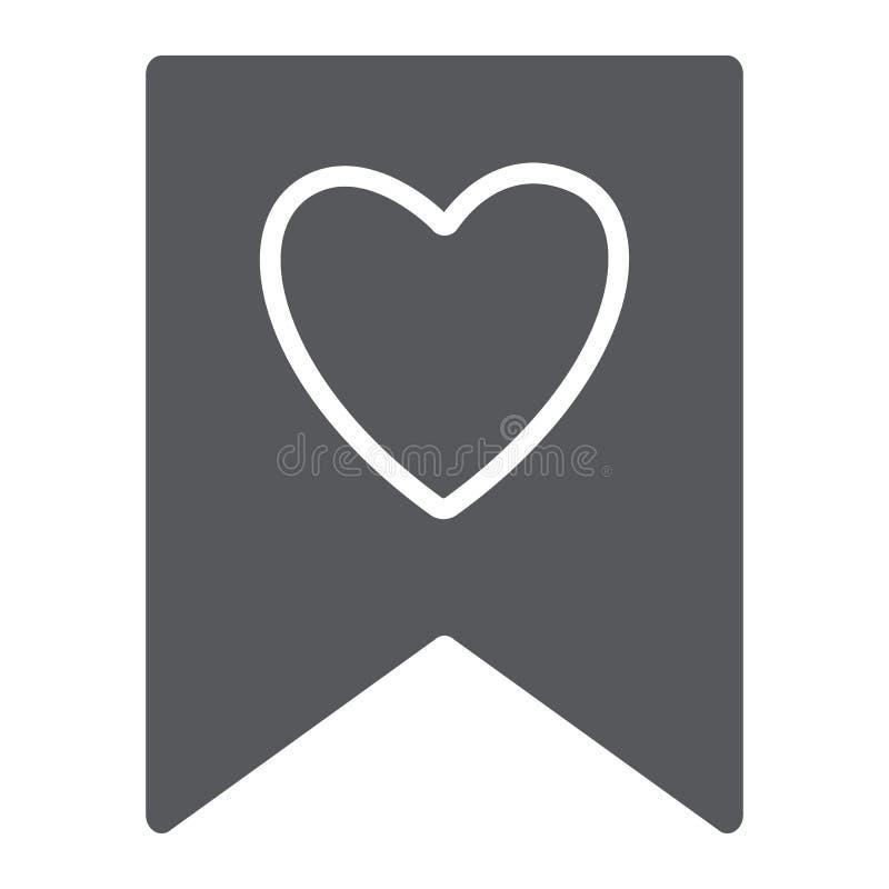 Αγαπημένο εικονίδιο glyph, σημάδι και αγαπημένος, σελιδοδείκτης με το σημάδι καρδιών, διανυσματική γραφική παράσταση, ένα στερεό  απεικόνιση αποθεμάτων