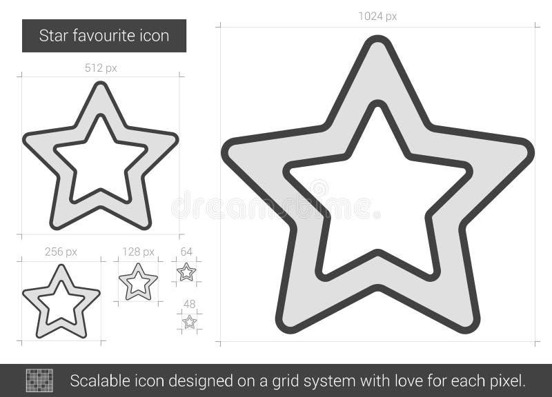 Αγαπημένο εικονίδιο γραμμών αστεριών ελεύθερη απεικόνιση δικαιώματος