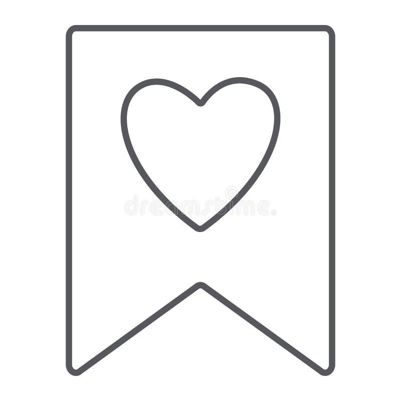 Αγαπημένο λεπτό εικονίδιο γραμμών, σημάδι και αγαπημένος, σελιδοδείκτης με το σημάδι καρδιών, διανυσματική γραφική παράσταση, ένα ελεύθερη απεικόνιση δικαιώματος