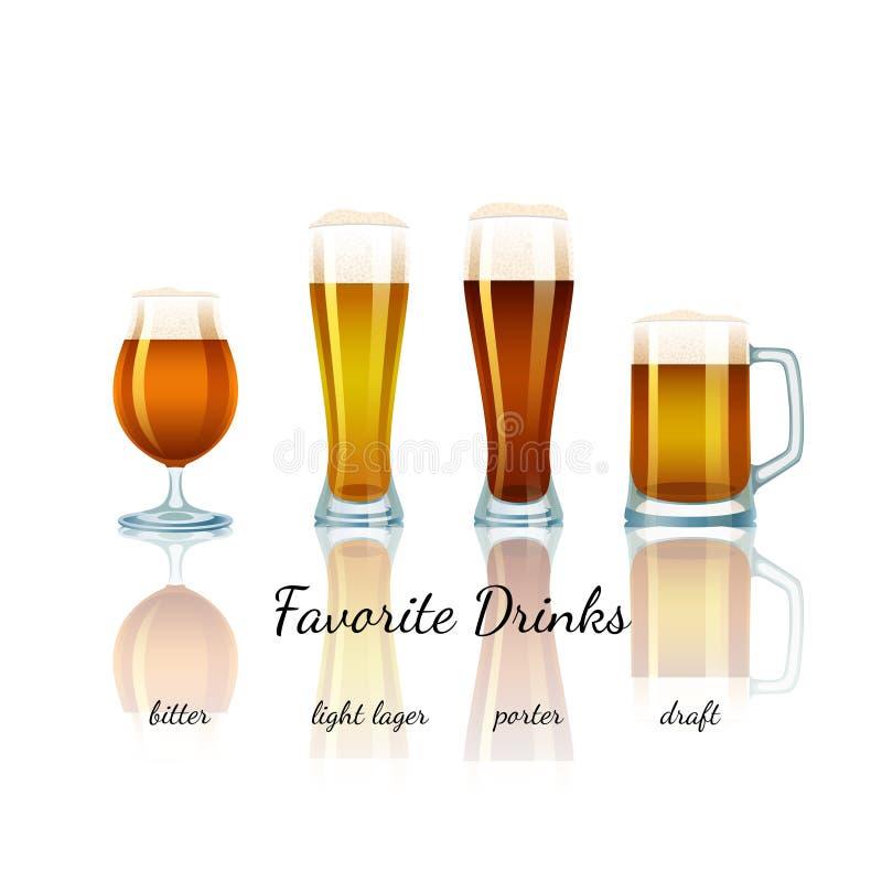 Αγαπημένο σύνολο μπύρας, που απομονώνεται διανυσματική απεικόνιση