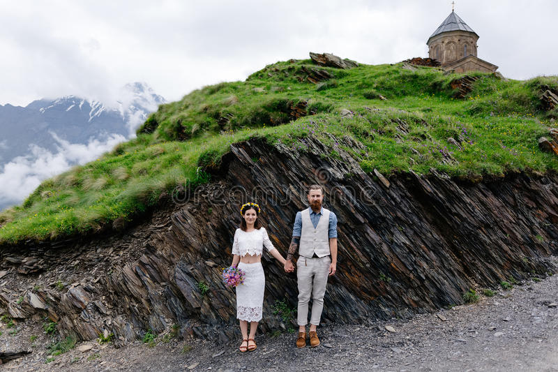 Αγαπώντας ζεύγος, γάμος στη Γεωργία στοκ φωτογραφίες με δικαίωμα ελεύθερης χρήσης