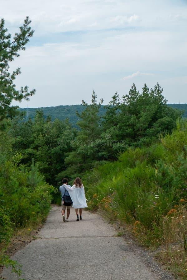 Αγαπώντας ζεύγος που περπατά στο δάσος στοκ εικόνες