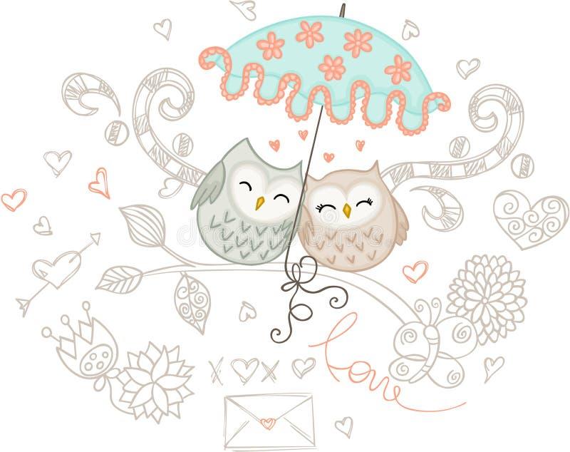 Αγαπώντας ζεύγος των κουκουβαγιών με την ομπρέλα ελεύθερη απεικόνιση δικαιώματος