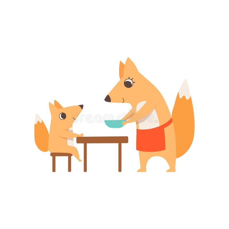 Αγαπώντας το εξυπηρετώντας πιάτο αλεπούδων μητέρων στο παιδί της που κάθεται στον πίνακα γευμάτων, ζωική οικογένεια, που το διάνυ απεικόνιση αποθεμάτων