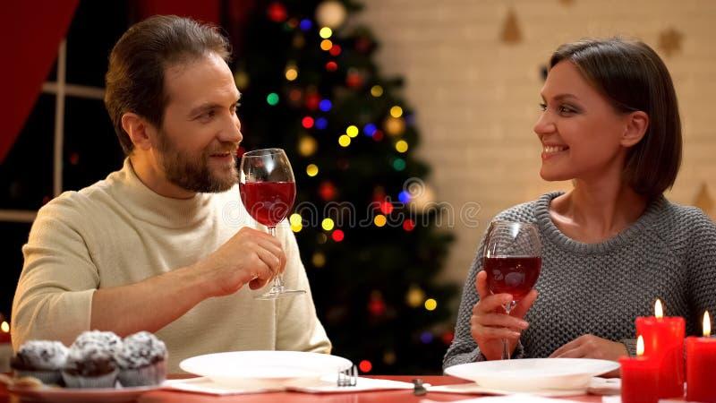 Αγαπώντας το κρασί κατανάλωσης ζευγών στη Παραμονή Χριστουγέννων, αγαπώντας τις σχέσεις, ευτυχής γάμος στοκ φωτογραφία με δικαίωμα ελεύθερης χρήσης