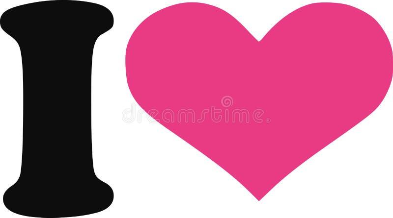 Αγαπώ με τη ρόδινη καρδιά ελεύθερη απεικόνιση δικαιώματος