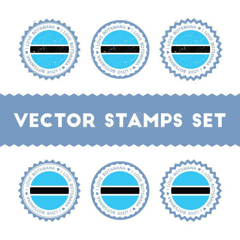 Αγαπώ τα διανυσματικά γραμματόσημα της Μποτσουάνα καθορισμένα ελεύθερη απεικόνιση δικαιώματος