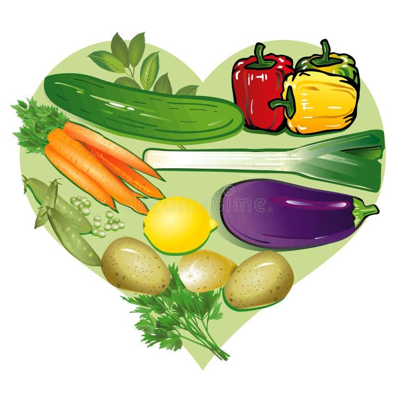 αγαπώ τα λαχανικά διανυσματική απεικόνιση