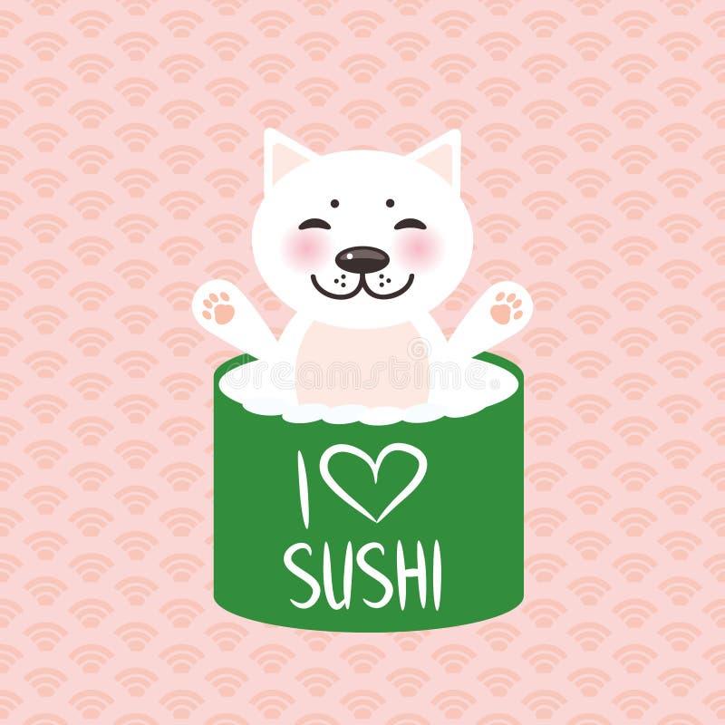 αγαπώ τα σούσια Το αστείο σούσι Kawaii κυλά και άσπρη χαριτωμένη γάτα με τα ρόδινα μάγουλα, emoji Ρόδινο υπόβαθρο με το ιαπωνικό  διανυσματική απεικόνιση