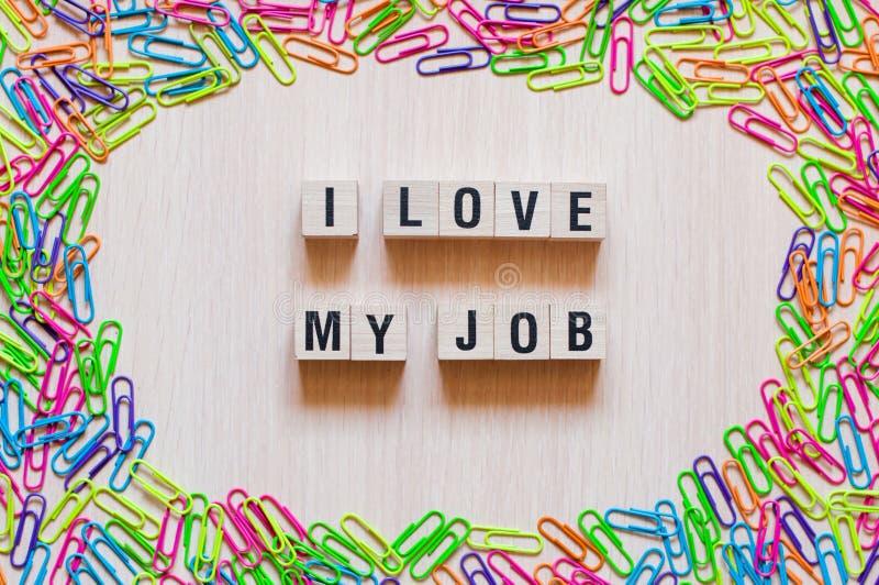 Αγαπώ την έννοια λέξεων εργασίας μου στοκ φωτογραφίες