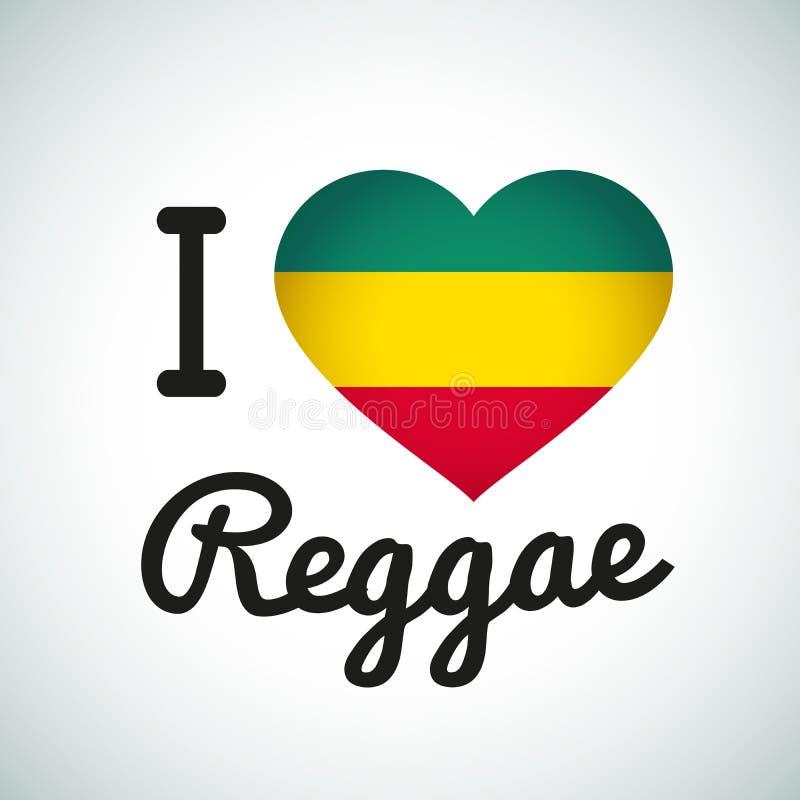 Αγαπώ την απεικόνιση καρδιών Reggae, τζαμαϊκανή μουσική απεικόνιση αποθεμάτων