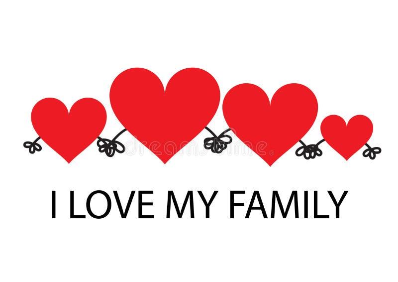 Αγαπώ την οικογένειά μου τέσσερα κόκκινες καρδιές απεικόνιση αποθεμάτων