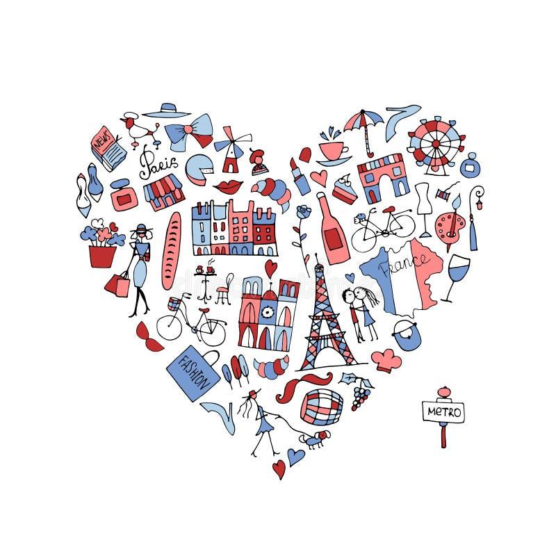 Αγαπώ τη Γαλλία, συλλογή εικονιδίων Σκίτσο για το σχέδιό σας απεικόνιση αποθεμάτων
