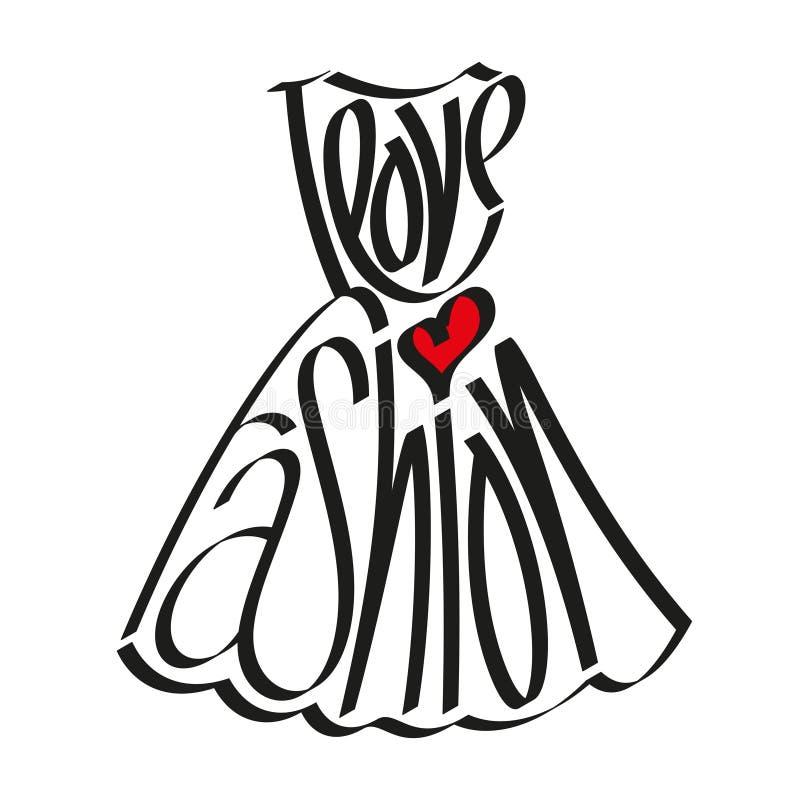 Αγαπώ τη δήλωση μόδας στη σκιαγραφία φορεμάτων, αγαπώ τη μόδα, τυπογραφία μόδας, καλλιγραφία μόδας, τυπογραφία φορεμάτων διανυσματική απεικόνιση