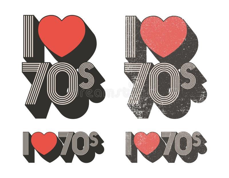 Αγαπώ τη δεκαετία του '70 διανυσματική απεικόνιση