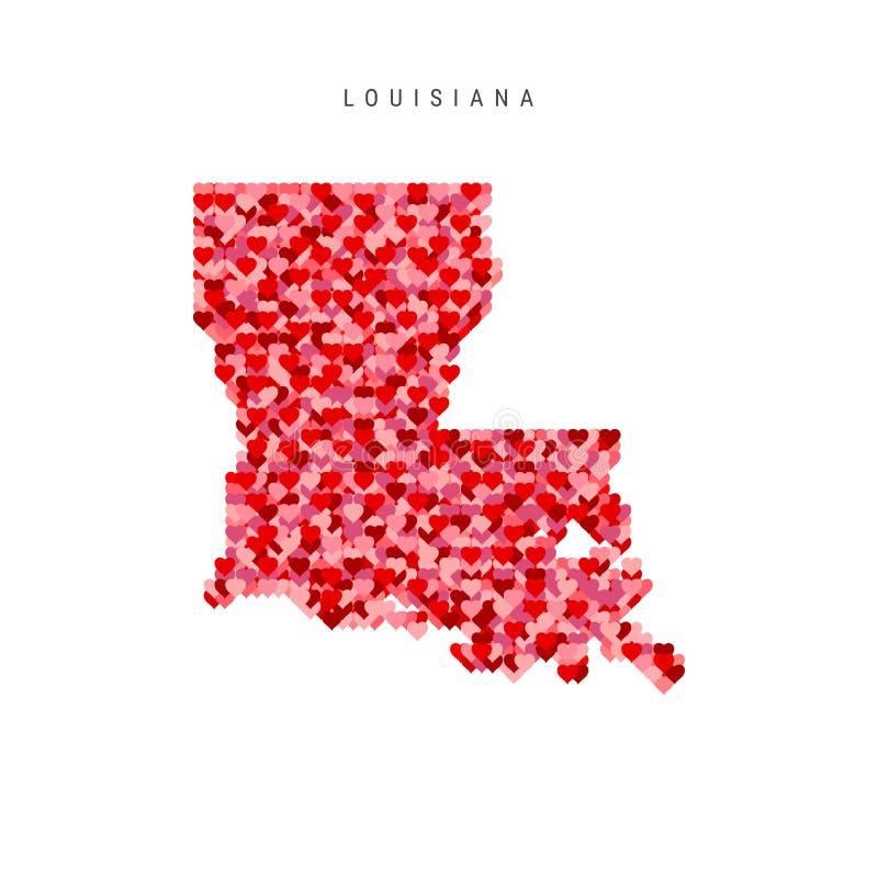 Αγαπώ τη Λουιζιάνα Κόκκινος διανυσματικός χάρτης σχεδίων καρδιών της Λουιζιάνας ελεύθερη απεικόνιση δικαιώματος