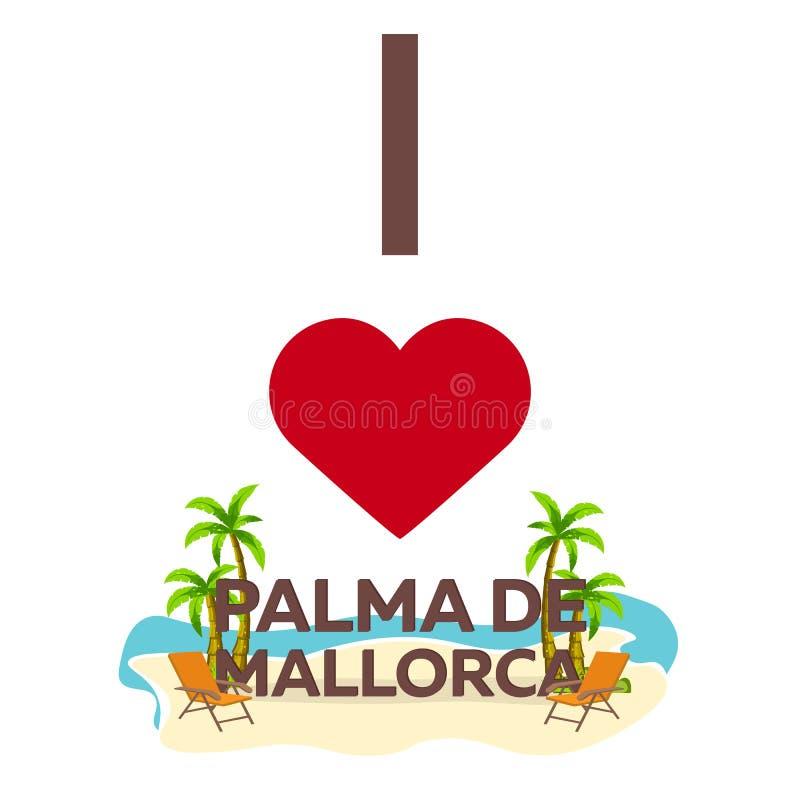 Αγαπώ τη Πάλμα ντε Μαγιόρκα Ταξίδι Φοίνικας, καλοκαίρι, καρέκλα σαλονιών Διανυσματική επίπεδη απεικόνιση ελεύθερη απεικόνιση δικαιώματος
