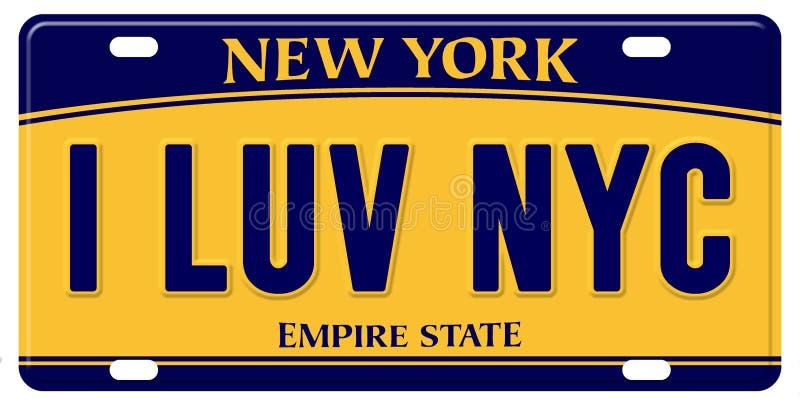 Αγαπώ τη πινακίδα αριθμού κυκλοφορίας της Νέας Υόρκης διανυσματική απεικόνιση