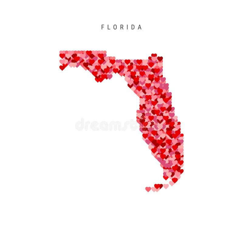 Αγαπώ τη Φλώριδα Κόκκινος διανυσματικός χάρτης σχεδίων καρδιών της Φλώριδας διανυσματική απεικόνιση
