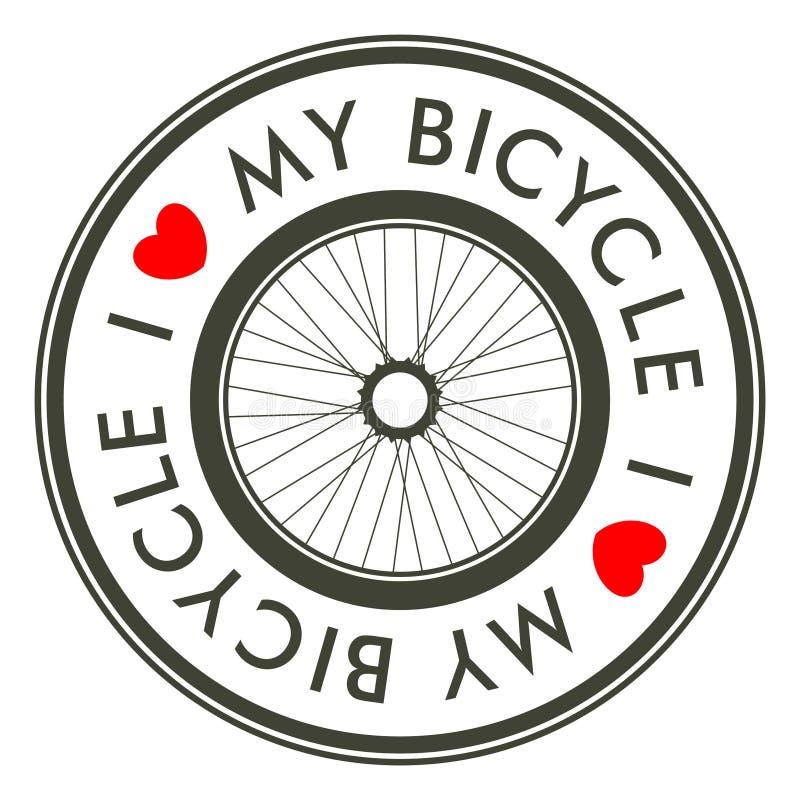 Αγαπώ το έμβλημα ποδηλάτων μου διανυσματική απεικόνιση