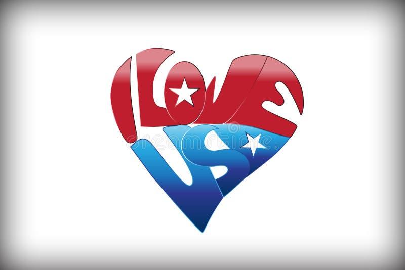 Αγαπώ το ΑΜΕΡΙΚΑΝΙΚΟ κείμενο σε ένα διάνυσμα λογότυπων αγάπης καρδιών ελεύθερη απεικόνιση δικαιώματος