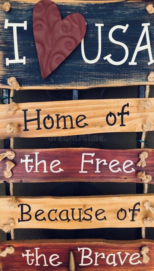 Αγαπώ το ΑΜΕΡΙΚΑΝΙΚΟ σπίτι του ελεύθερου στοκ εικόνες