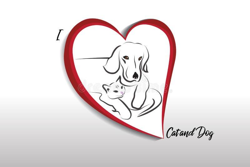 Αγαπώ το διανυσματικό σχέδιο λογότυπων εικόνας γατών και σκυλιών διανυσματική απεικόνιση