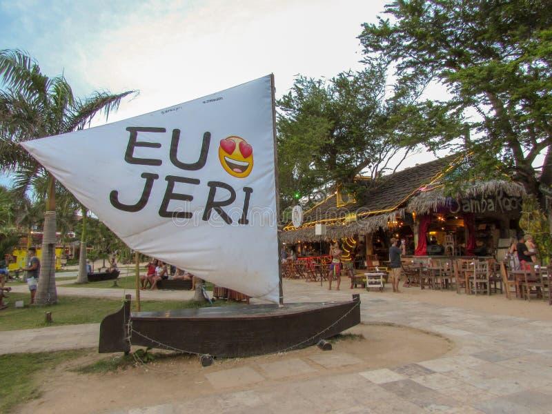 Αγαπώ το μήνυμα Jericoacoara στην πορτογαλική ΕΕ Amo Jeri sailboat σε Jericoacoara στη Βραζιλία στοκ εικόνα