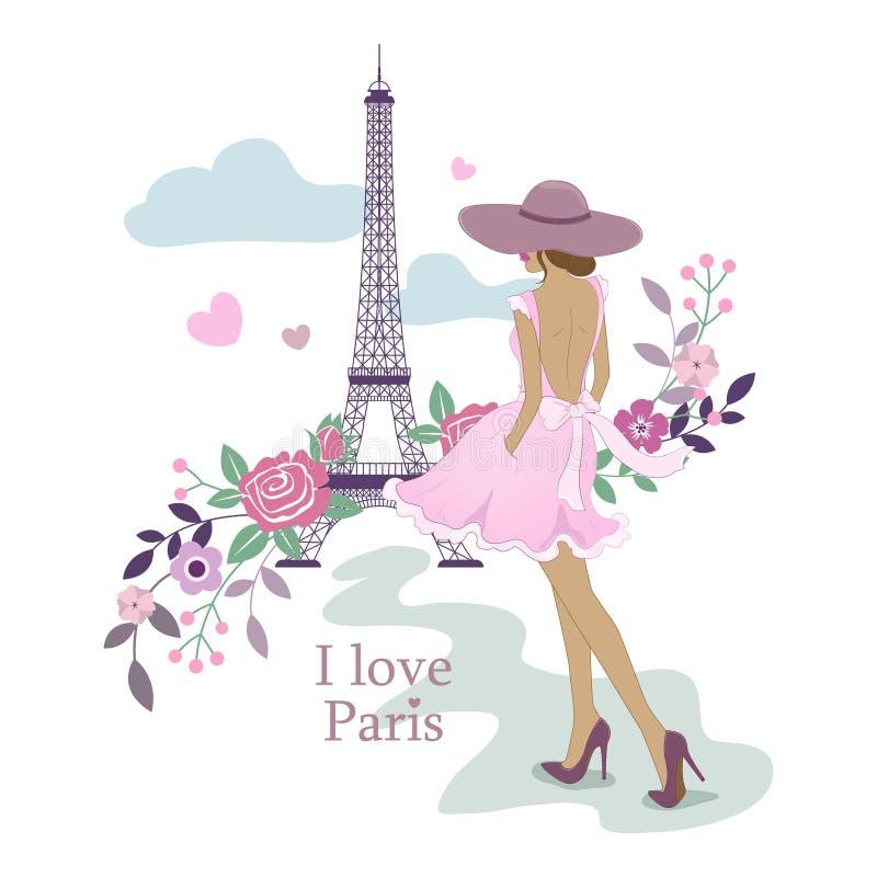αγαπώ το Παρίσι Εικόνα του πύργου και των γυναικών του Άιφελ επίσης corel σύρετε το διάνυσμα απεικόνισης Παρίσι και λουλούδια Μον ελεύθερη απεικόνιση δικαιώματος