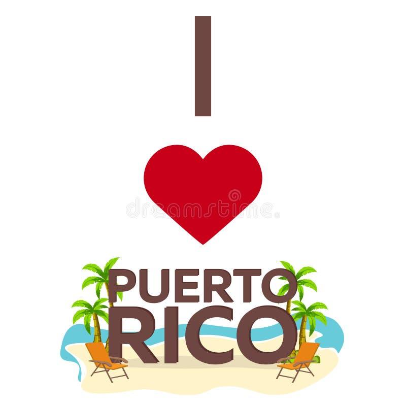 Αγαπώ το Πουέρτο Ρίκο Ταξίδι Φοίνικας, καλοκαίρι, καρέκλα σαλονιών Διανυσματική επίπεδη απεικόνιση ελεύθερη απεικόνιση δικαιώματος