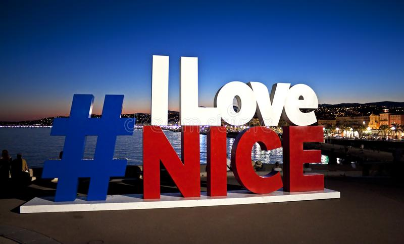 Αγαπώ το σημάδι της Νίκαιας στοκ εικόνες με δικαίωμα ελεύθερης χρήσης