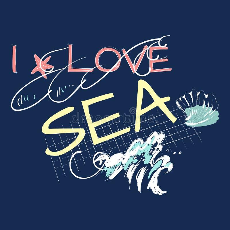 Αγαπώ το σύνθημα θάλασσας με το κύμα και το κοχύλι διανυσματική απεικόνιση