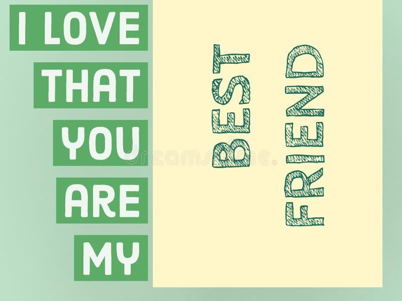 Αγαπώ ότι είστε η πρόταση καλύτερων φίλων μου σε ένα πράσινο υπόβαθρο ελεύθερη απεικόνιση δικαιώματος