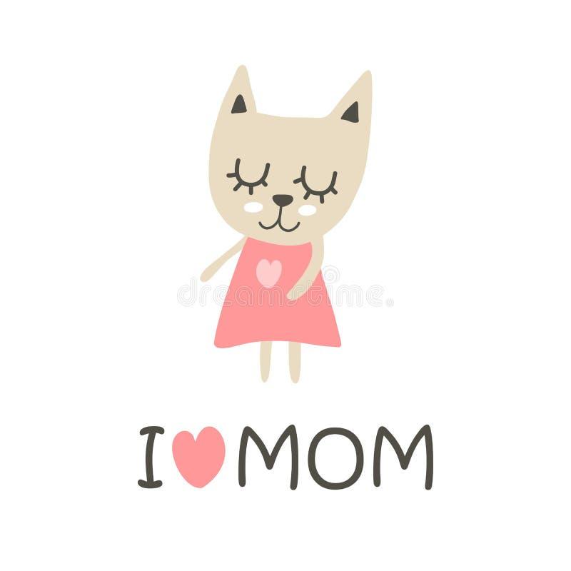 Αγαπώ mom την αφίσα με το χαριτωμένο κορίτσι γατακιών Επίπεδη διανυσματική κάρτα απεικόνισης κινούμενων σχεδίων ελεύθερη απεικόνιση δικαιώματος