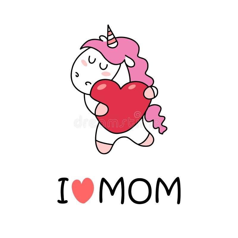 Αγαπώ mom την αφίσα με το χαριτωμένο λευκό μονόκερο και τη ρόδινη καρδιά Επίπεδη διανυσματική κάρτα απεικόνισης κινούμενων σχεδίω ελεύθερη απεικόνιση δικαιώματος