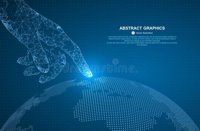 Αγγίξτε τη μελλοντική, διανυσματική απεικόνιση μιας αίσθησης της επιστήμης και της τεχνολογίας διανυσματική απεικόνιση
