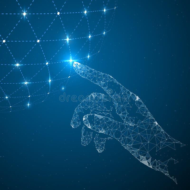 Αγγίξτε τη μελλοντική, διανυσματική απεικόνιση μιας αίσθησης της επιστήμης και της τεχνολογίας στοκ εικόνες