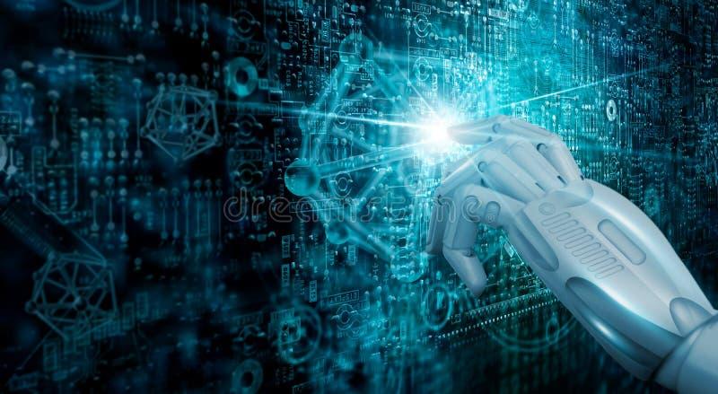 Αγγίξτε τη μελλοντική, σύγχρονη ψηφιακή τεχνολογία διεπαφών, εκμάθηση μηχανών AI Δικτύωση και σύνδεση του κόσμου στοκ εικόνες