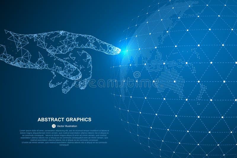 Αγγίξτε το μέλλον, απεικόνιση μιας αίσθησης της επιστήμης και της τεχνολογίας διανυσματική απεικόνιση
