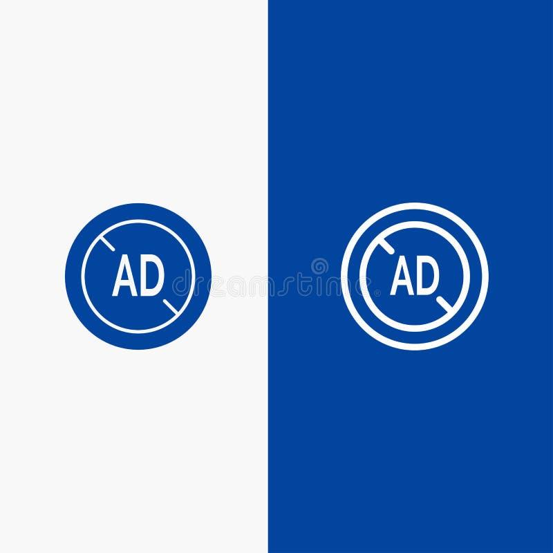 Αγγελία, Blocker, Blocker αγγελιών, ψηφιακή γραμμή και στερεά γραμμή εμβλημάτων εικονιδίων Glyph μπλε και στερεό μπλε έμβλημα εικ διανυσματική απεικόνιση