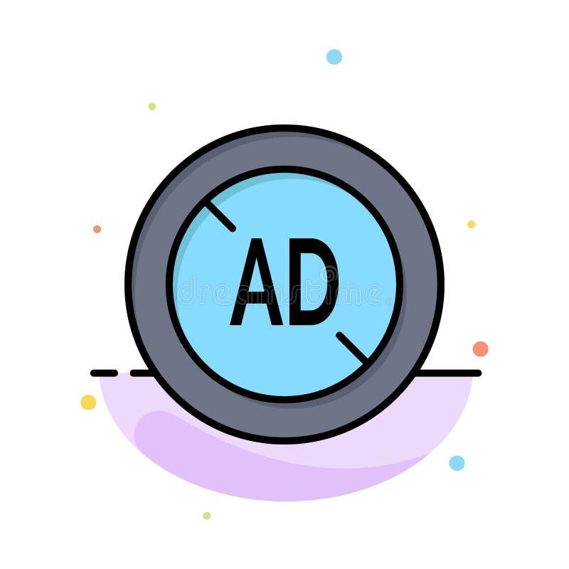 Αγγελία, Blocker, Blocker αγγελιών, ψηφιακό αφηρημένο επίπεδο πρότυπο εικονιδίων χρώματος απεικόνιση αποθεμάτων