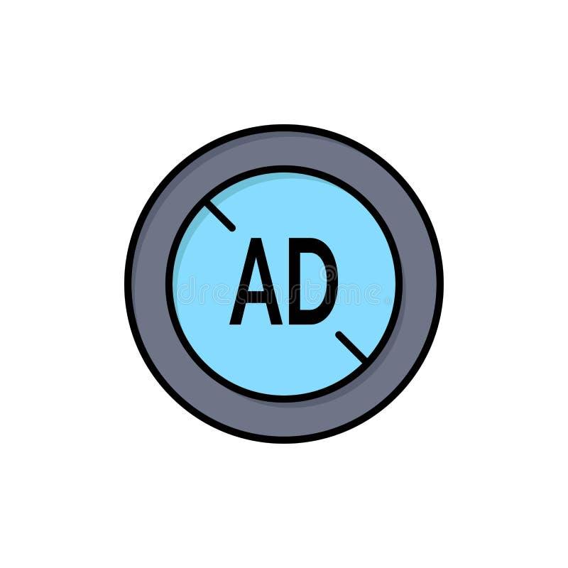 Αγγελία, Blocker, Blocker αγγελιών, ψηφιακό επίπεδο εικονίδιο χρώματος Διανυσματικό πρότυπο εμβλημάτων εικονιδίων ελεύθερη απεικόνιση δικαιώματος