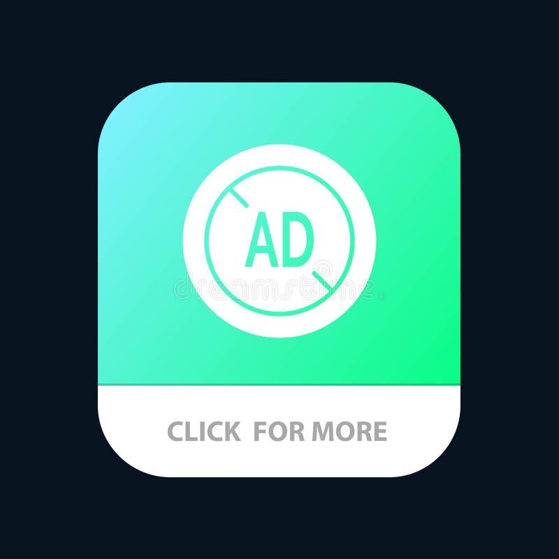 Αγγελία, Blocker, Blocker αγγελιών, ψηφιακό κινητό App κουμπί Αρρενωπή και IOS Glyph έκδοση διανυσματική απεικόνιση