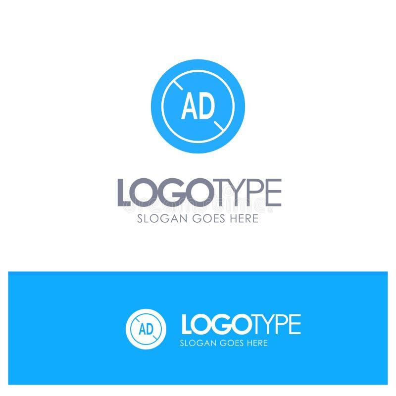 Αγγελία, Blocker, Blocker αγγελιών, ψηφιακό μπλε στερεό λογότυπο με τη θέση για το tagline ελεύθερη απεικόνιση δικαιώματος