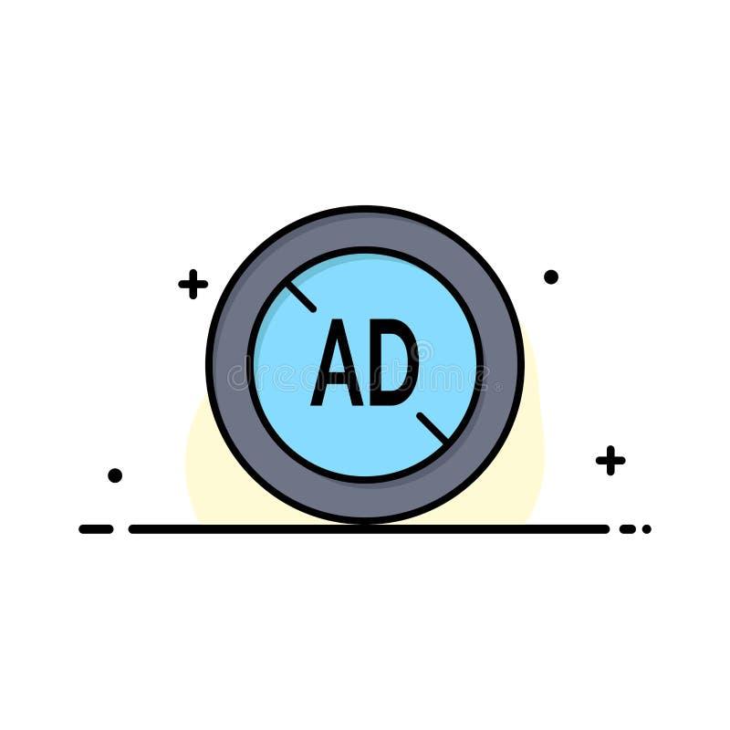 Αγγελία, Blocker, Blocker αγγελιών, ψηφιακό πρότυπο εμβλημάτων επιχειρησιακών επίπεδο γεμισμένο γραμμή εικονιδίων διανυσματικό ελεύθερη απεικόνιση δικαιώματος