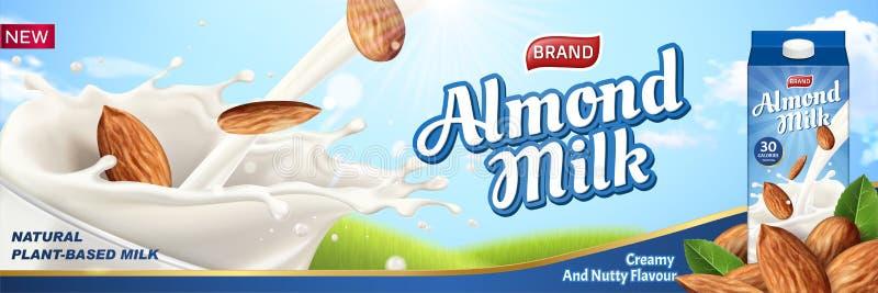Αγγελίες γάλακτος αμυγδάλων με το υγρό διανυσματική απεικόνιση