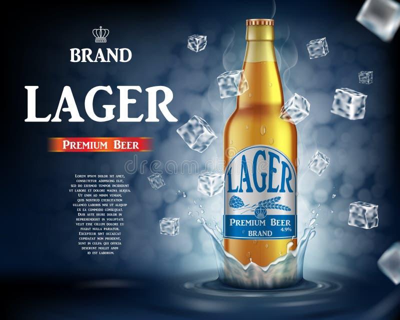 Αγγελίες μπύρας ξανθού γερμανικού ζύού τεχνών με το ράντισμα Ρεαλιστικό μπουκάλι μπύρας γυαλιού με τους πετώντας κύβους πάγου στο διανυσματική απεικόνιση
