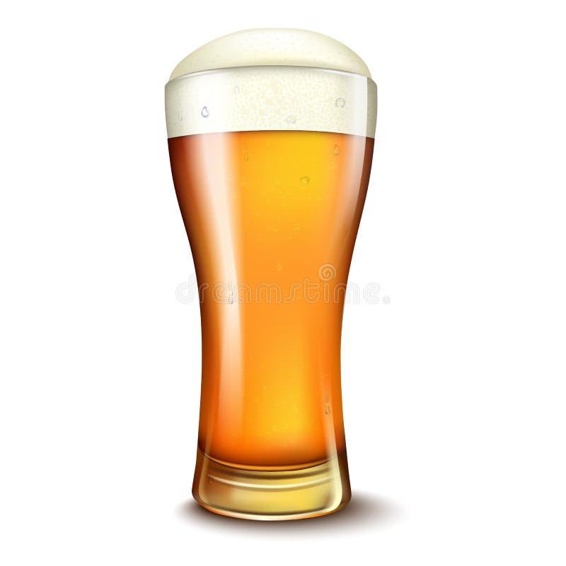 Αγγελίες μπύρας σίτου, γυαλί μπύρας με την ελκυστική μπύρα, τρισδιάστατη απεικόνιση που απομονώνεται στο άσπρο υπόβαθρο απεικόνιση αποθεμάτων