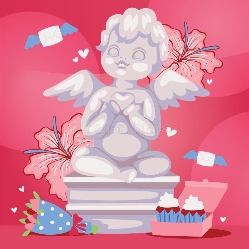 Αγγελική απεικόνιση υποβάθρου γλυπτών cupid Ρομαντικό άγαλμα αγγέλου με τα λουλούδια Βαλεντίνοι ή ημέρα γάμου διανυσματική απεικόνιση